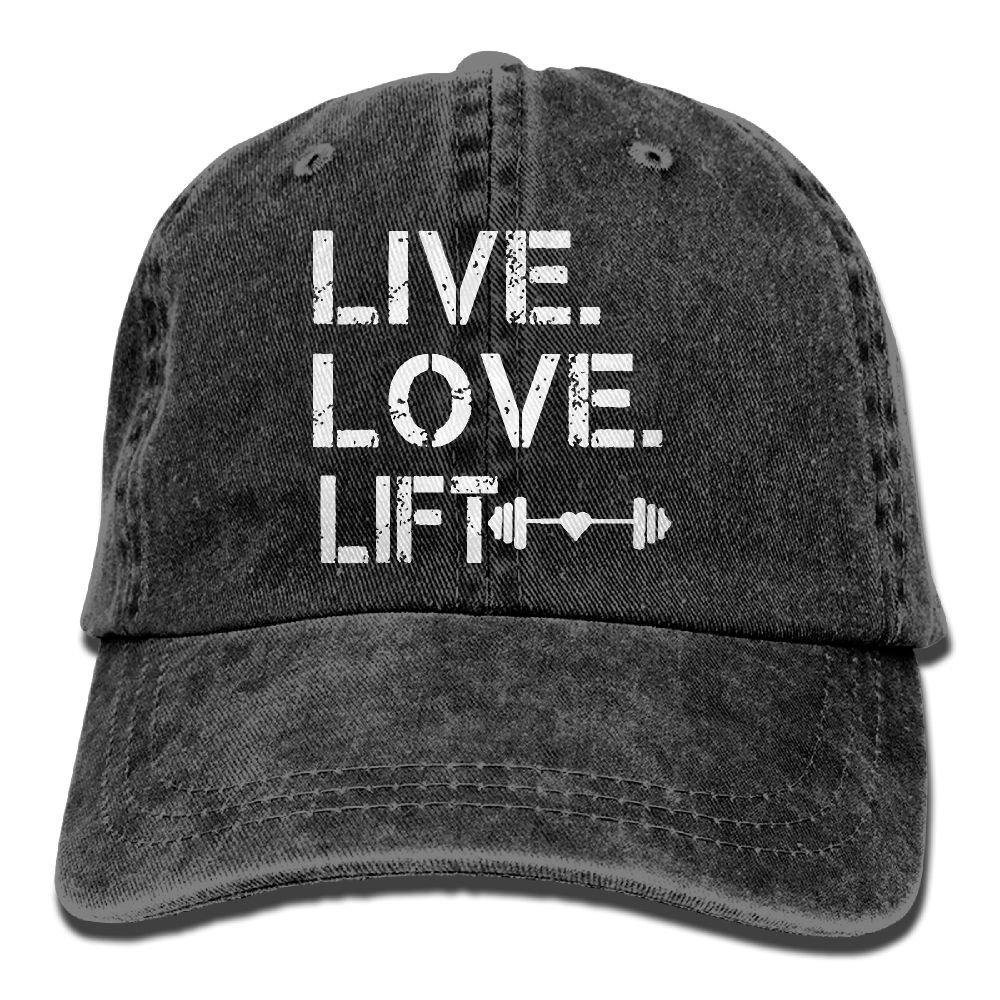 Men's/Women's Live Love Lift Cotton Denim Baseball Cap Adjustable Street Rapper Hat