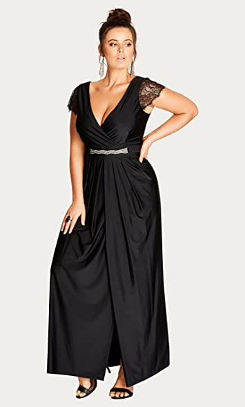 Flirty Drape Plus Size Maxi Dress In Black Size 18 M At Amazon