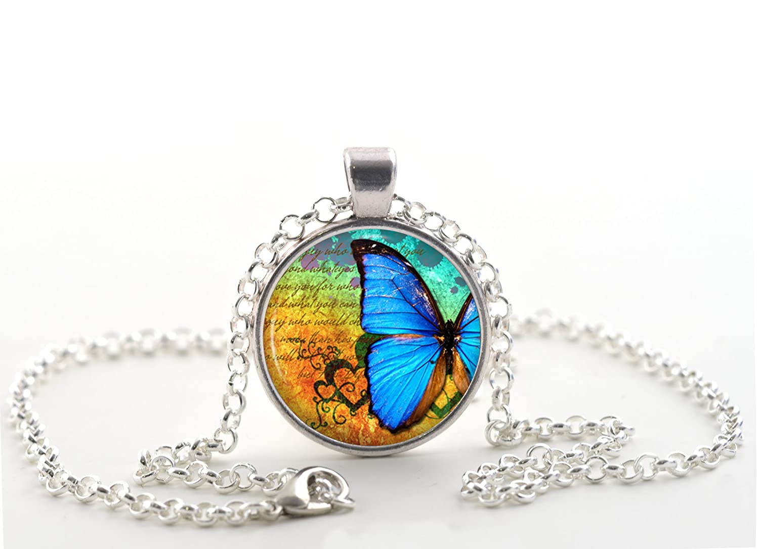 Silver Pendant Crystal Clear Glass Dome Blue Butterfly Necklace Ladies Jewelry with Script