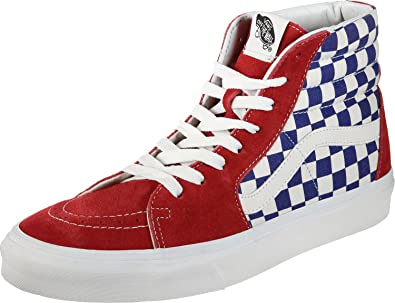 b1efd14f15 Image Unavailable. Image not available for. Color  Vans  quot BMX  Checkerboard SK8-Hi Sneakers (True Blue Red) Classic Skateboard