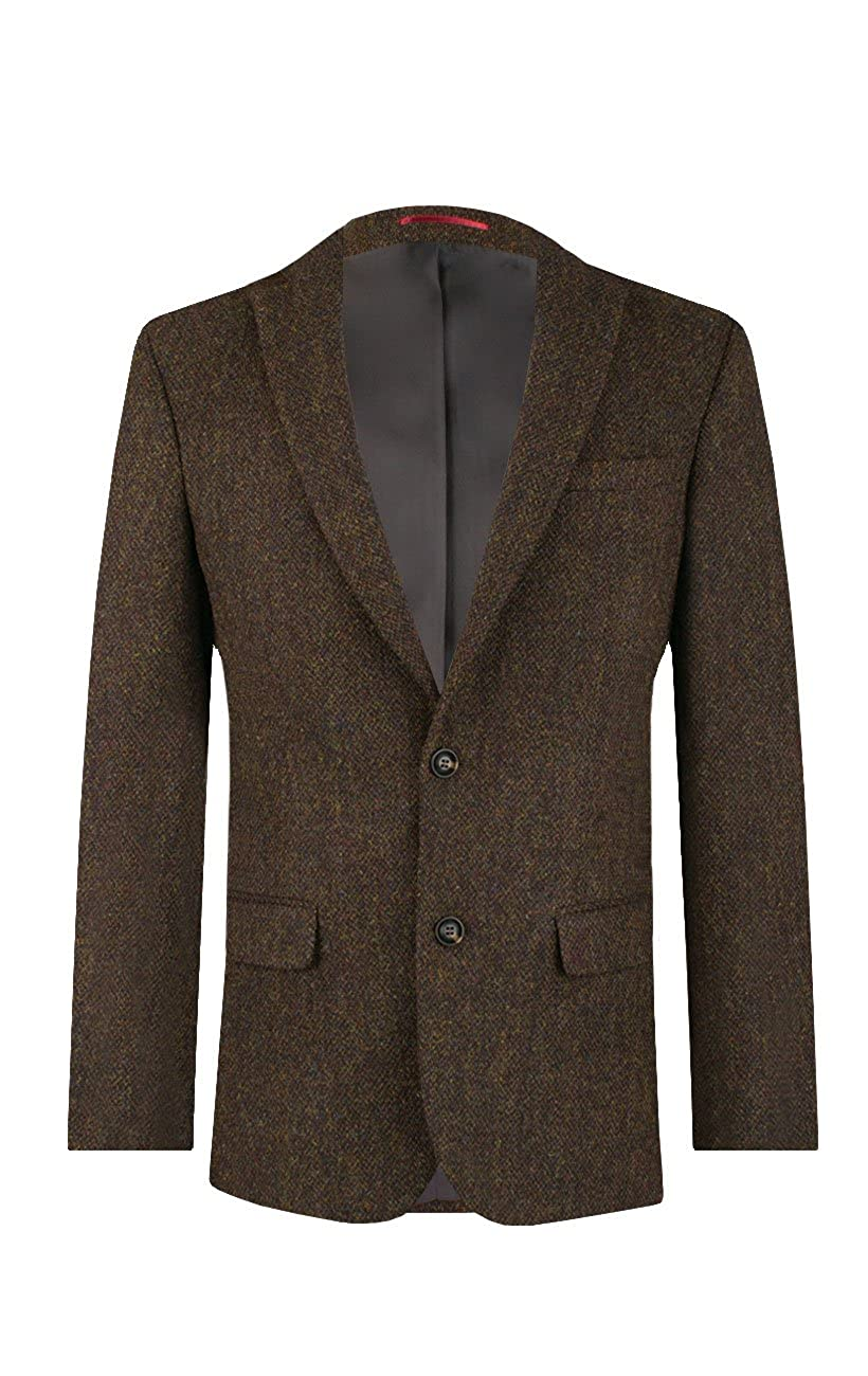 7113805c Harris Tweed Mens Green Barleycorn Regular Fit 100% Wool Notch Lapel Tweed  Jacket: Amazon.co.uk: Clothing