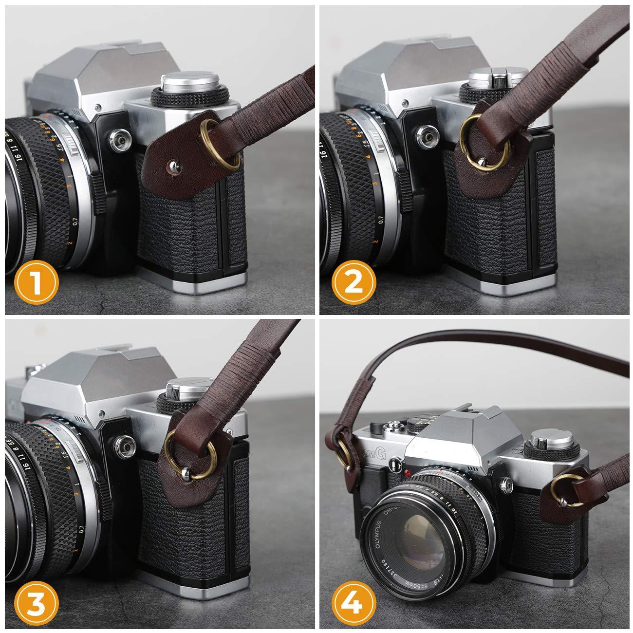 TARION Camera Strap Leather Vintage DSLR Camera Neck Straps Belt Handmade Genuine Leather Film Camera Shoulder Strap Cord Long Slim Thin for SLR Mirrorless Cameras L3 Black
