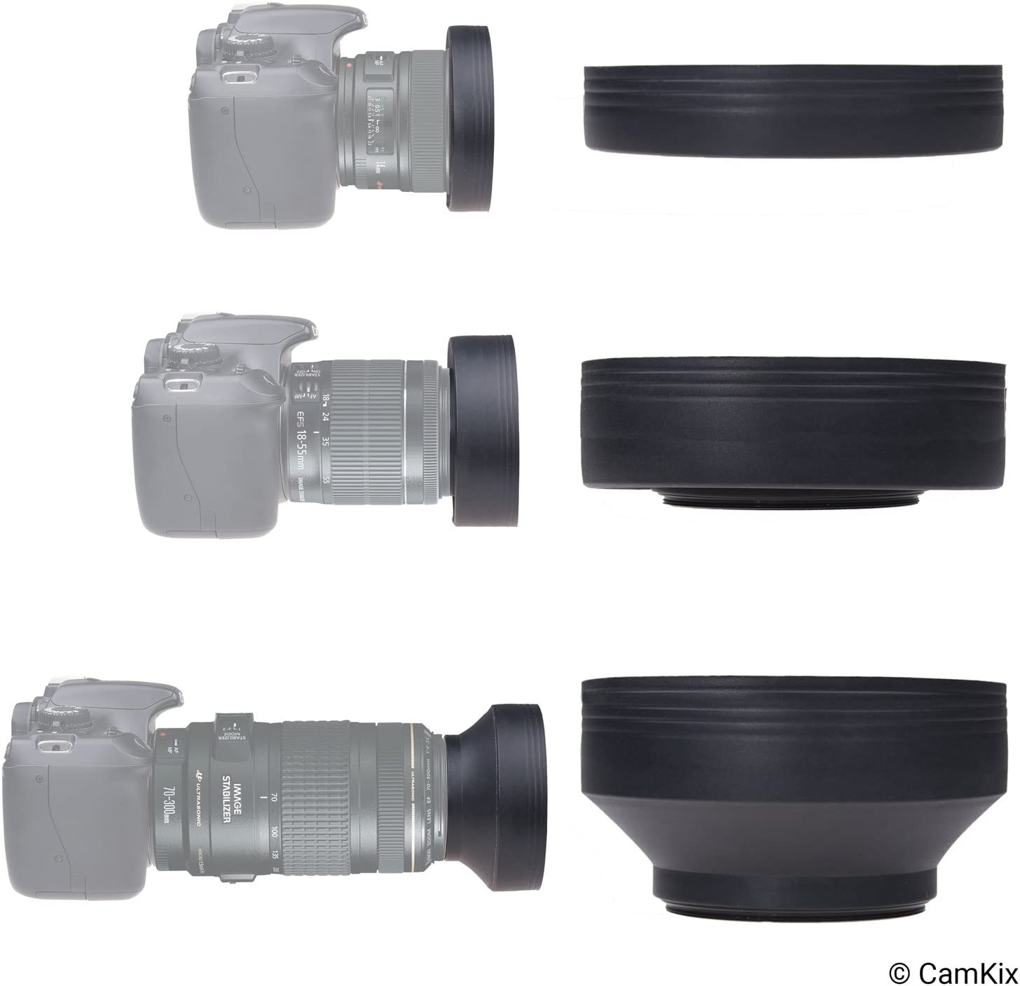 Collapsible in 3 Steps Set of 2 Sun Shade//Shield Camera Lens Hood 52mm Reduces Lens Flare and Glare Blocks Excess Sunlight for Enhanced Photography and Video Footage Rubber