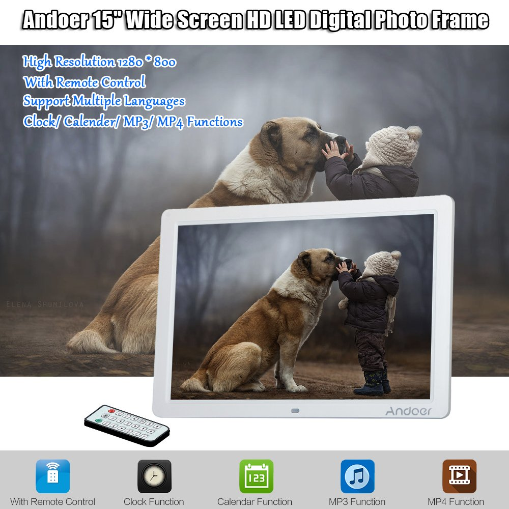Amazon andoer hd led digital photo picture frame 15 inch amazon andoer hd led digital photo picture frame 15 inch wide screen high resolution 1280 x 800 with remote control and cr2025 ontroller battery jeuxipadfo Image collections