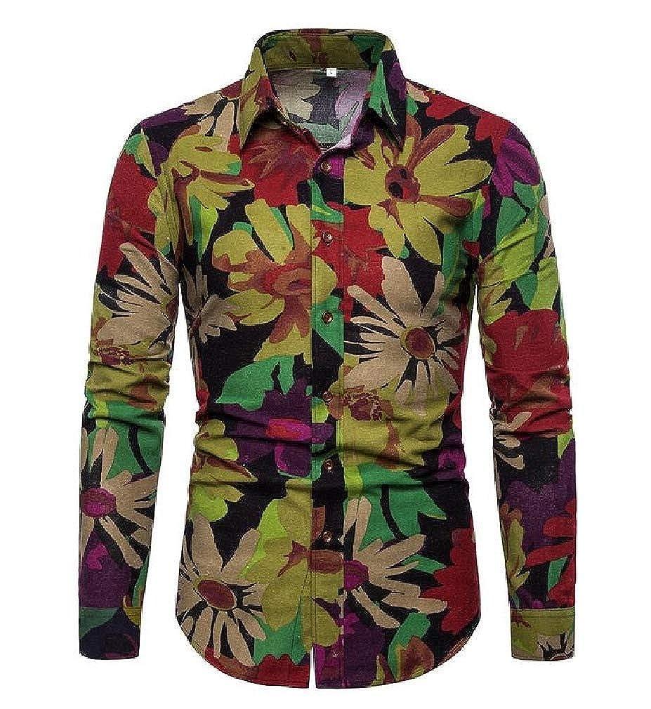 Zimaes-Men Tailored Fit Buttoned Flower Print Flyaway Long-Sleeve Shirt