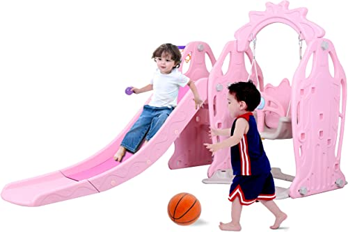 Genivation Indoor Climber and Swing Slide Set Indoor Swing Set Combination Swing Set with Slide Basketball Light Pink