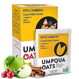 Umpqua Oats | All Natural, Premium Oatmeal Packets | No Mush, Custom Milled | Non-GMO (Apple Cranberry, 12 Packets)