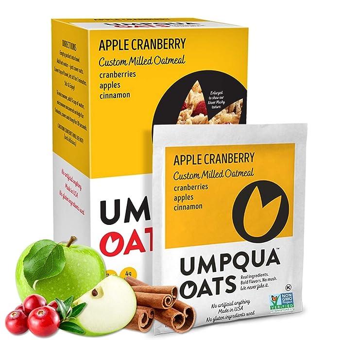 Umpqua Oats   All Natural, Premium Oatmeal Packets   No Mush, Custom Milled   Non-GMO (Apple Cranberry, 12 Packets)