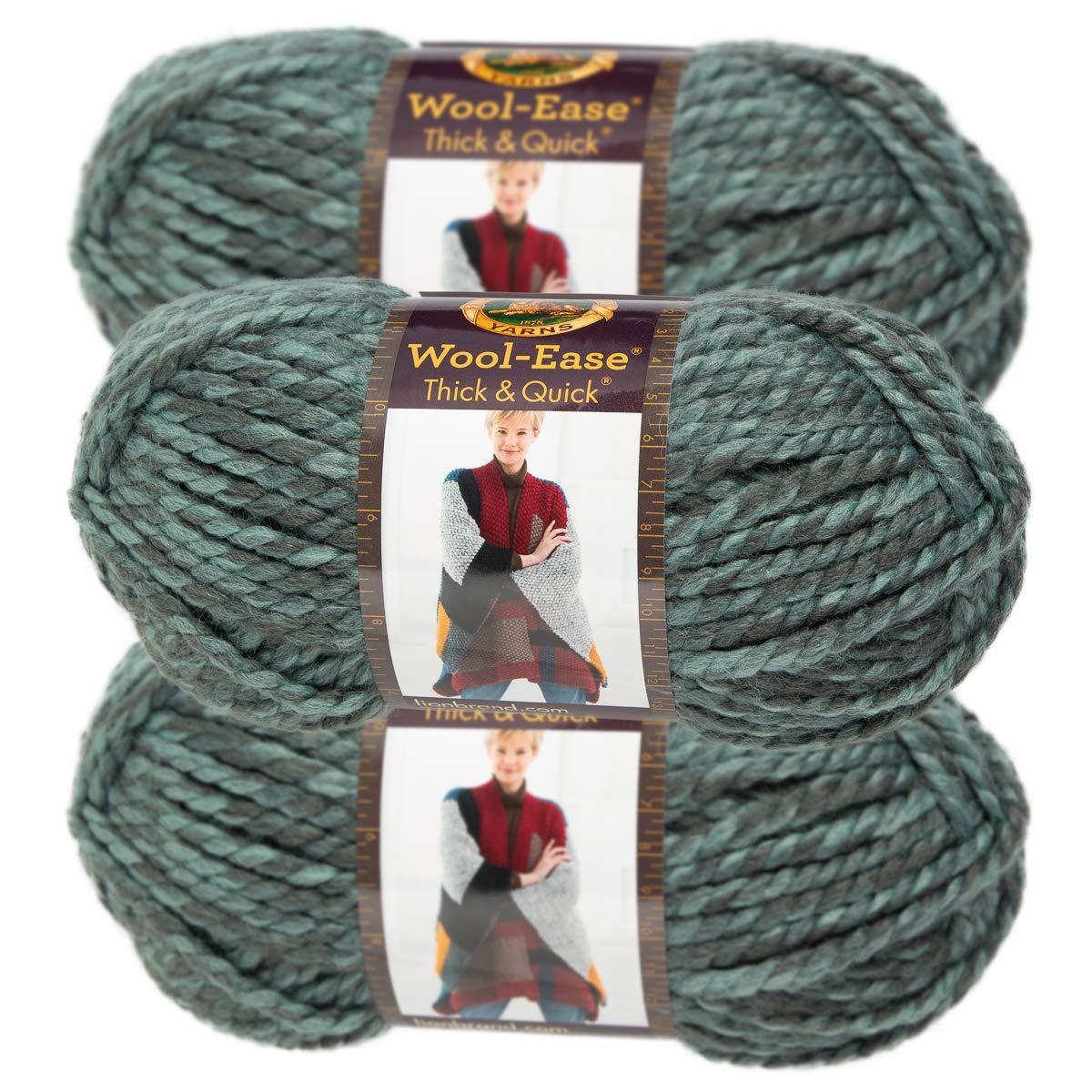 Lion Brand Yarn 3 Pack Wool Ease Super Chunky Yarn for Knitting Crocheting Soft Blue Jay Yarn Bulky #6