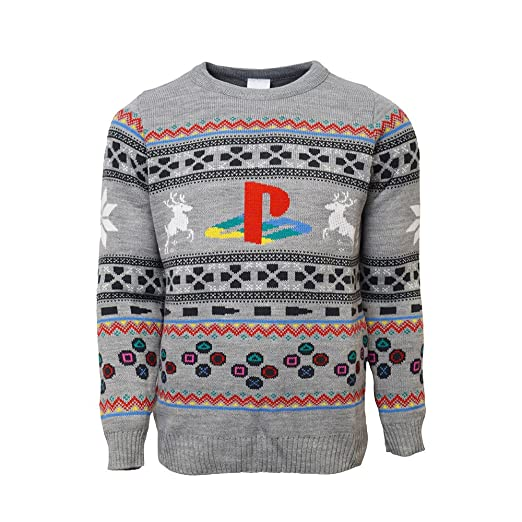 Playstation Official Console Christmas Jumperugly Sweater Grey At
