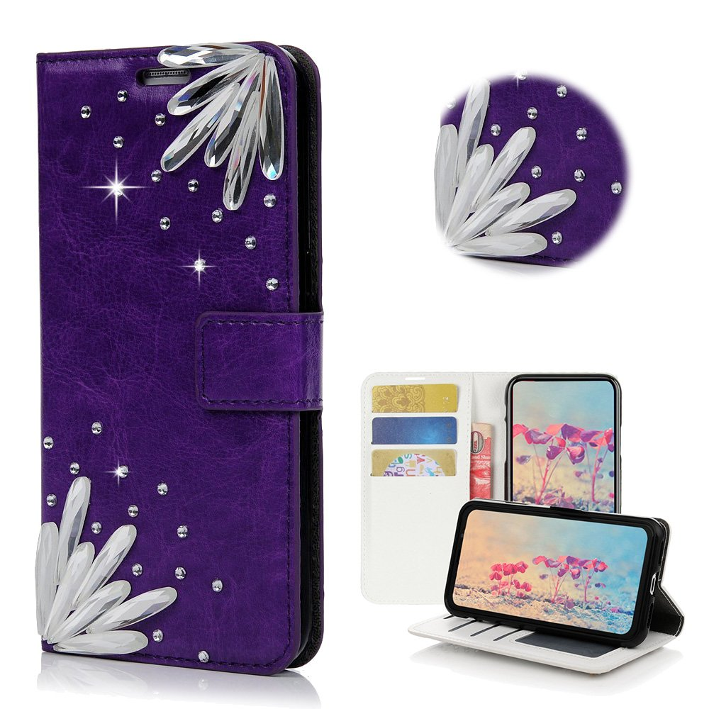 STENES Samsung Galaxy S7 Active Case - Stylish - 3D Handmade Bling Crystal Pretty Stones Desgin Wallet Credit Card Slots Fold Media Stand Leather Cover Case - Purple