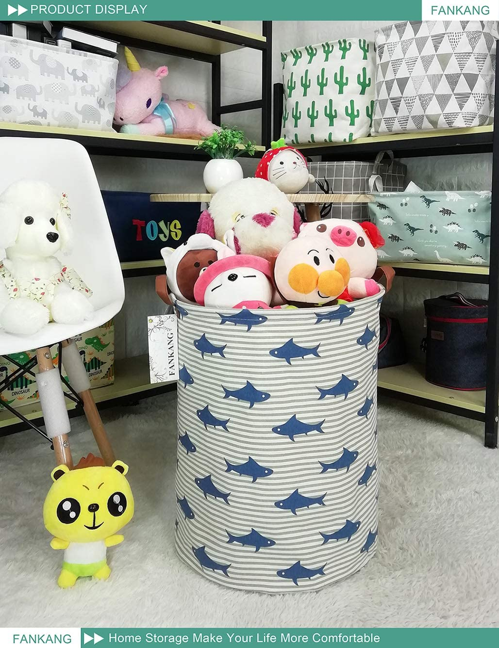 Clothes Bedroom Office FANKANG Storage Bins Nursery Hamper Canvas Laundry Basket Foldable with Waterproof PE Coating Large Storage Baskets Gift for Kids Girl Unicorn Toys Baby Shower Basket