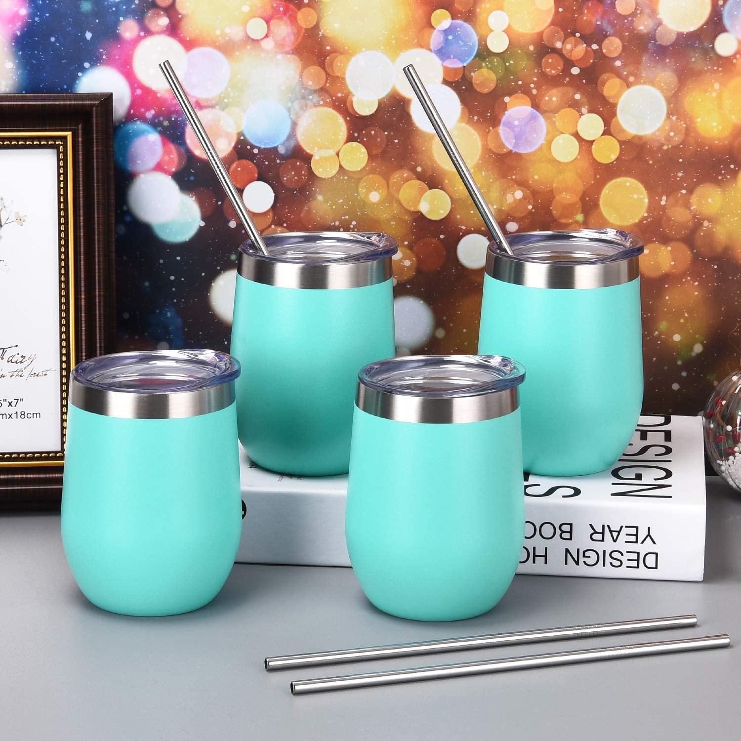 4 Pack 12Oz Stemless Wine Tumbler Wine Glasses Set Stainless Steel Wine Tumbler Cups with Lid and Straw Set of 4 Shatterproof - Novelty Gifts for Men Women or Family Party Use, Blue