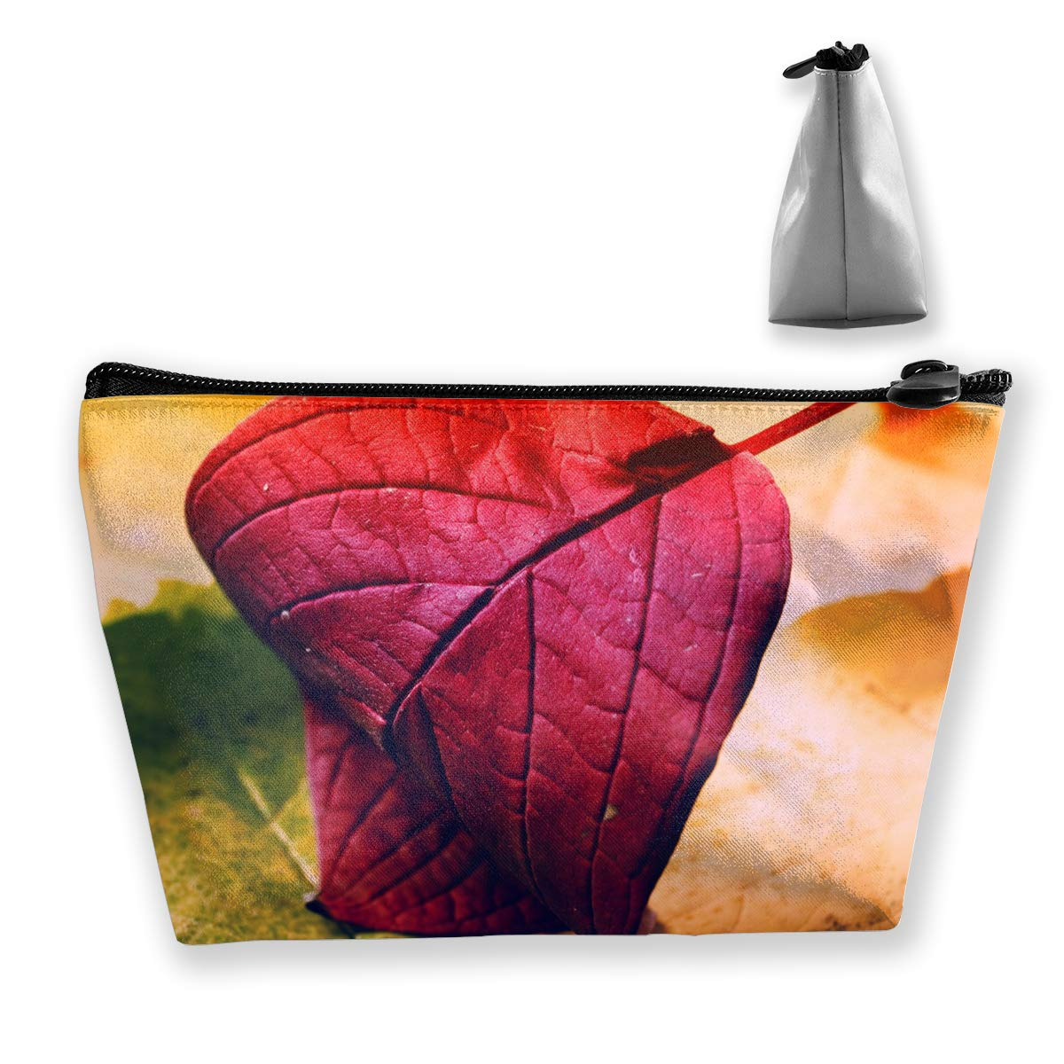 Trapezoid Toiletry Pouch Portable Travel Bag Red Leaf Pen Organizer