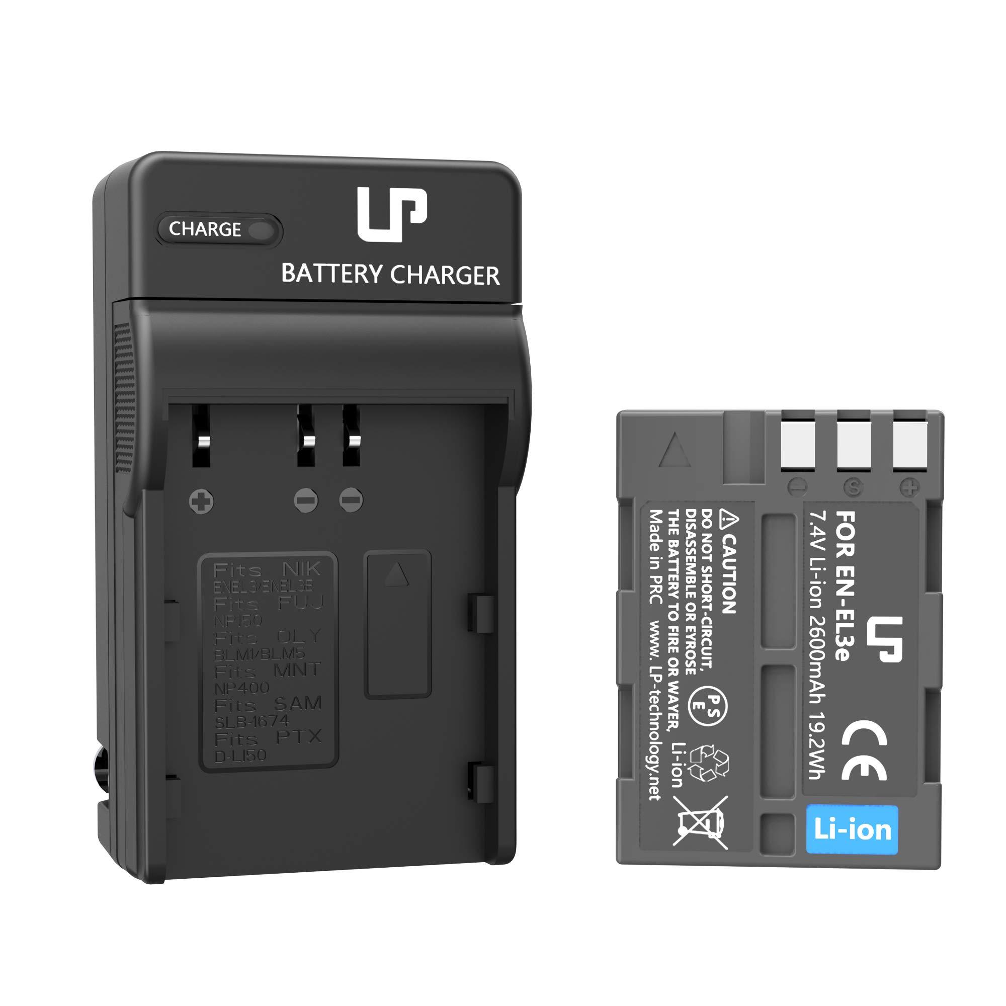 LP EN-EL3e Battery Charger Set, Compatible with Nikon D50, D70, D70s, D80, D90, D100, D200, D300, D300s, D700 & More, Replacement for Nikon EL3, EL3a by LP
