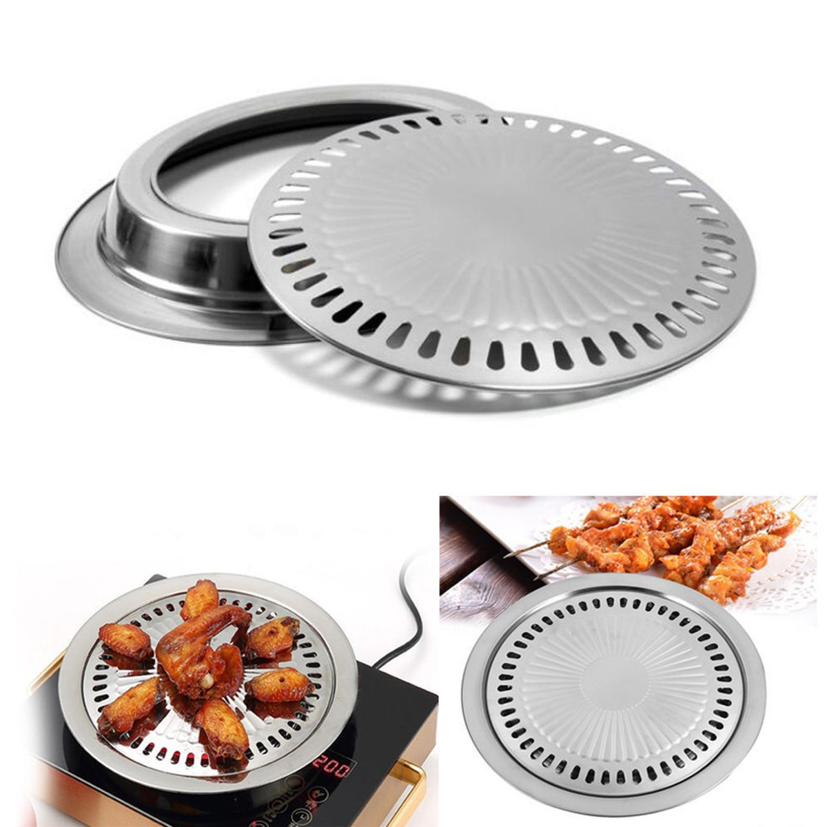Korean Stovetop, Janolia Stainless Steel Non-Stick Roasting Round Barbecue Grill Pan for Indoor Outdoor BBQ, Cooking Delicious Roasted Food