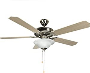 Hyperikon 52 Inch Ceiling Fan, 60W, Remote Control and Pull Chain, Brushed Nickel Body, 5 Blades, Frosted Dome Light, Birch