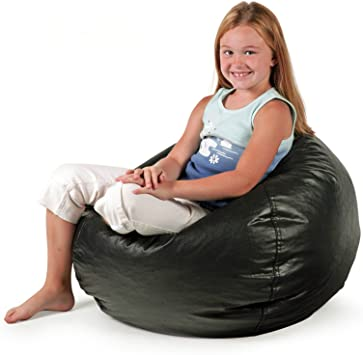 Amazon Com Bean Bag Chair Small Standard Vinyl Cozy Comfort Seating Furniture For Kids Bedroom Living Room Durable Stain Proof Great For Reading Playing Video Games Watching Tv And Relaxing Matte Black Furniture