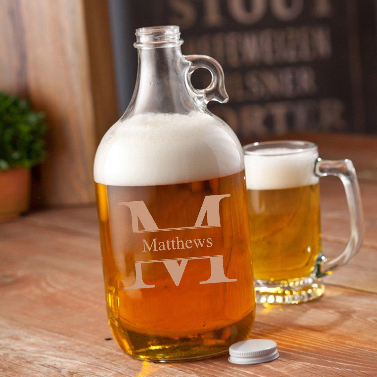Personalized Stamped Monogrammed Glass Beer Growler - Personalized Beer Growler - Engraved Groomsmen Beer Growler