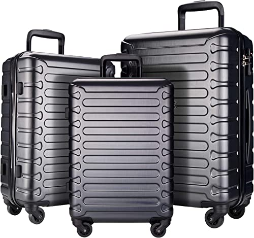 SHOWKOO 3 Piece Luggage Sets Expandable ABS Hardshell Hardside Lightweight Durable Spinner Wheels Suitcase with TSA Lock Gray