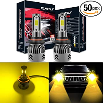 2X 9006 HB4 20000LM 3000K Yellow LED Conversion Headlight Bulbs Low Beam Lamps
