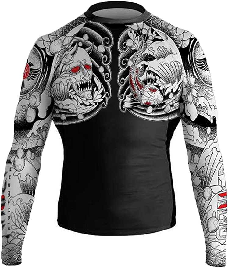 Raven Fightwear Mens Luchador El Cuervo MMA BJJ Rash Guard Black