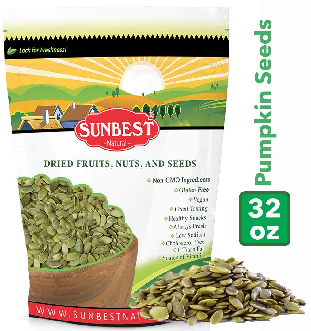 SUNBEST Shelled Unsalted Raw Pumpkin Seeds/Pepitas Raw, No Shell, Pumpkin Seed Kernels (Raw, 2 Lb) by SUNBEST NATURAL