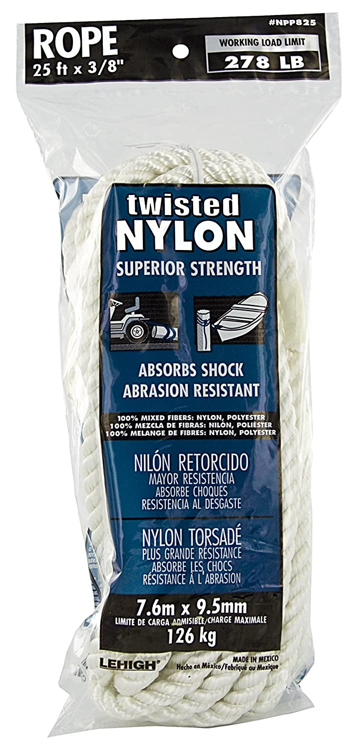 3//8 x 25 3//8 x 25/' Jensen Home Improvement Lehigh Group NPP825W-P Twist Nylon Rope