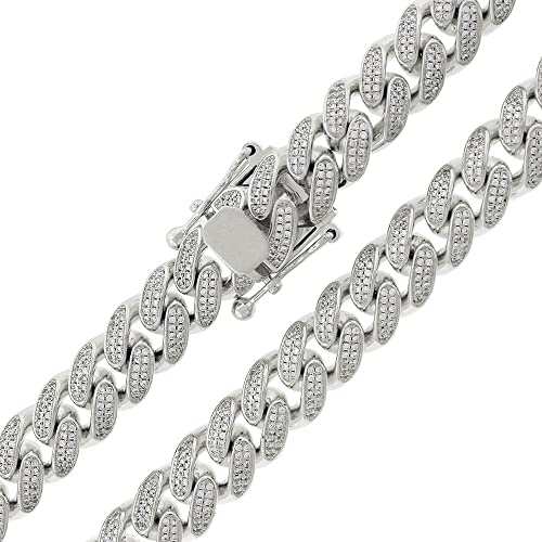 9mm Miami Cuban Curb Link CZ Bling Chain Necklace Real Solid Sterling Silver 925