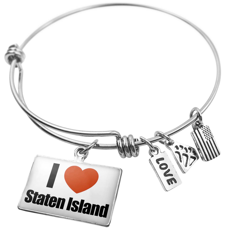 United States NEONBLOND Expandable Wire Bangle Bracelet I Love Staten Island Region New York