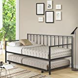 Giantex Twin Size Daybed and Trundle Frame Set, Trundle Bed with 4 Casters, Premium Metal Slat Support, Easy Assembly…