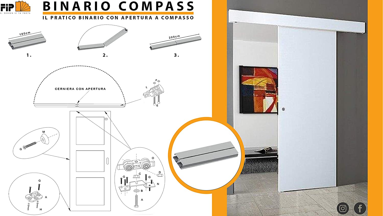Riel kit para puerta corredera cm 200 carga kg 80 COMPASS