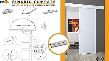 Riel kit para puerta corredera cm 200 carga kg 80 COMPASS: Amazon.es: Bricolaje y herramientas