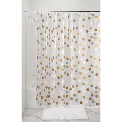 MDesign Metallic Dot PEVA Shower Curtain Mold And Mildew Resistant Water Repellent