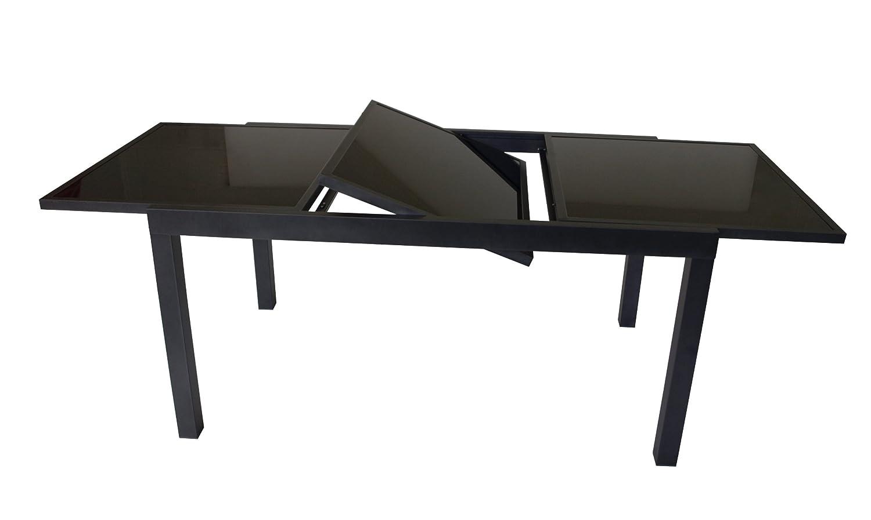 Ausziehtisch TORINO XL 180/240x100cm, Aluminium + Glas schwarz kaufen