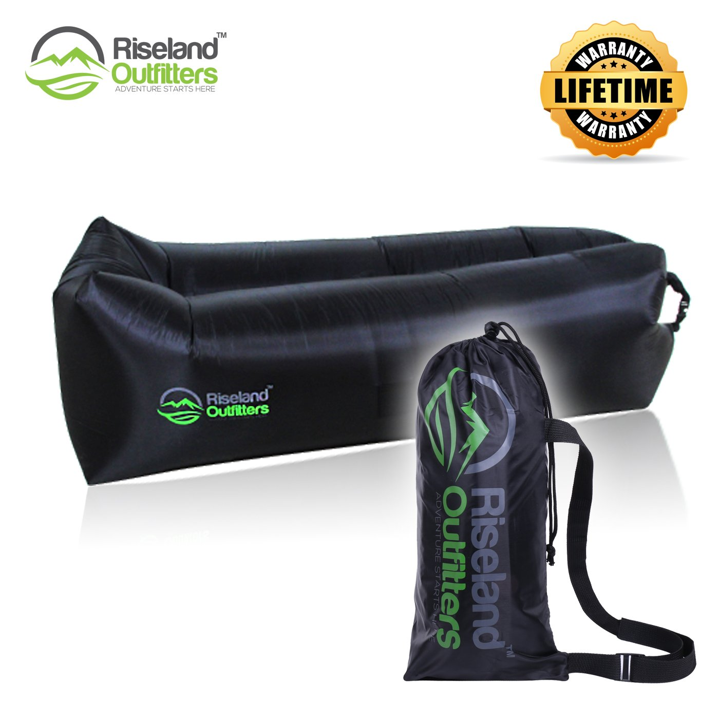 DownTime Inflatable Lounger By Riseland Outfitters – Deluxe Outdoor Air Lounger Sofa – Sturdy & Durable Construction – Ideal Inflatable Couch For Outdoors Lovers, Suitable For Camping & Beach Use