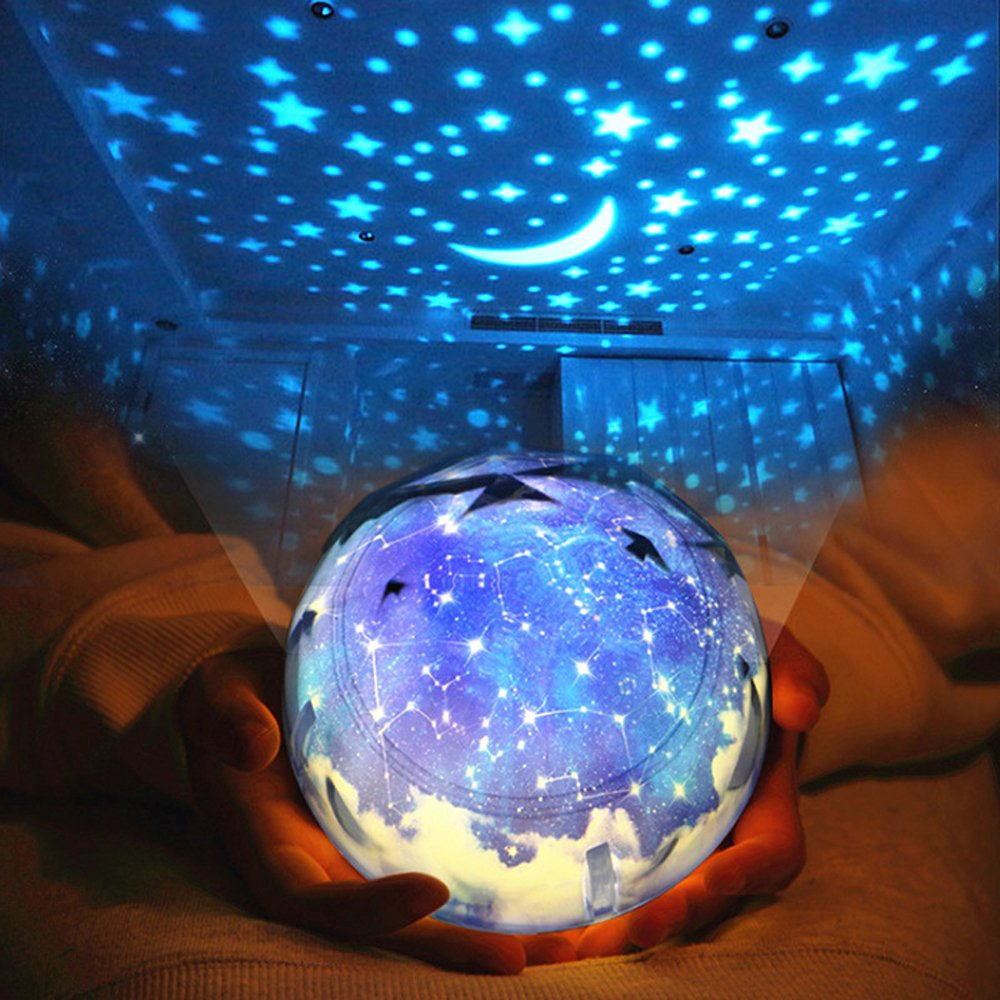 Sudatek soothing star projector led night light 360 degree rotating with color changing baby night light lamps for kids bedroom christmas birthday party