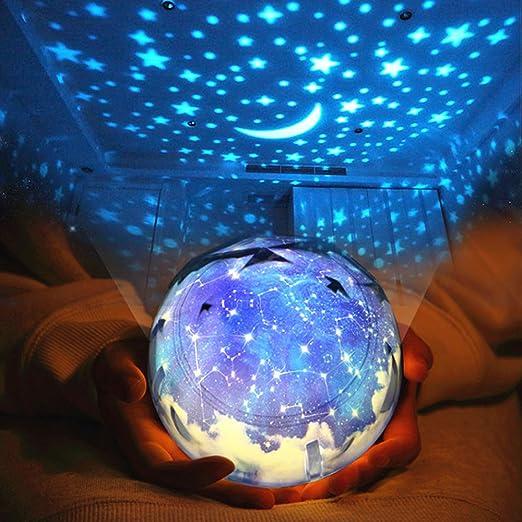 SudaTek - Proyector de luz led giratorio con estrellas para ...