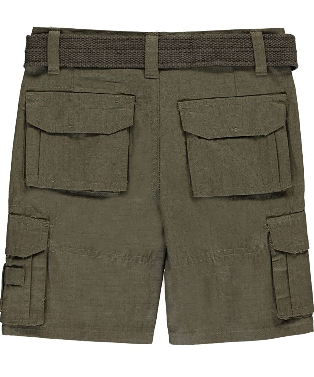 Quad Seven Little Boys Toddler Grid Matrix Belted Cargo Shorts
