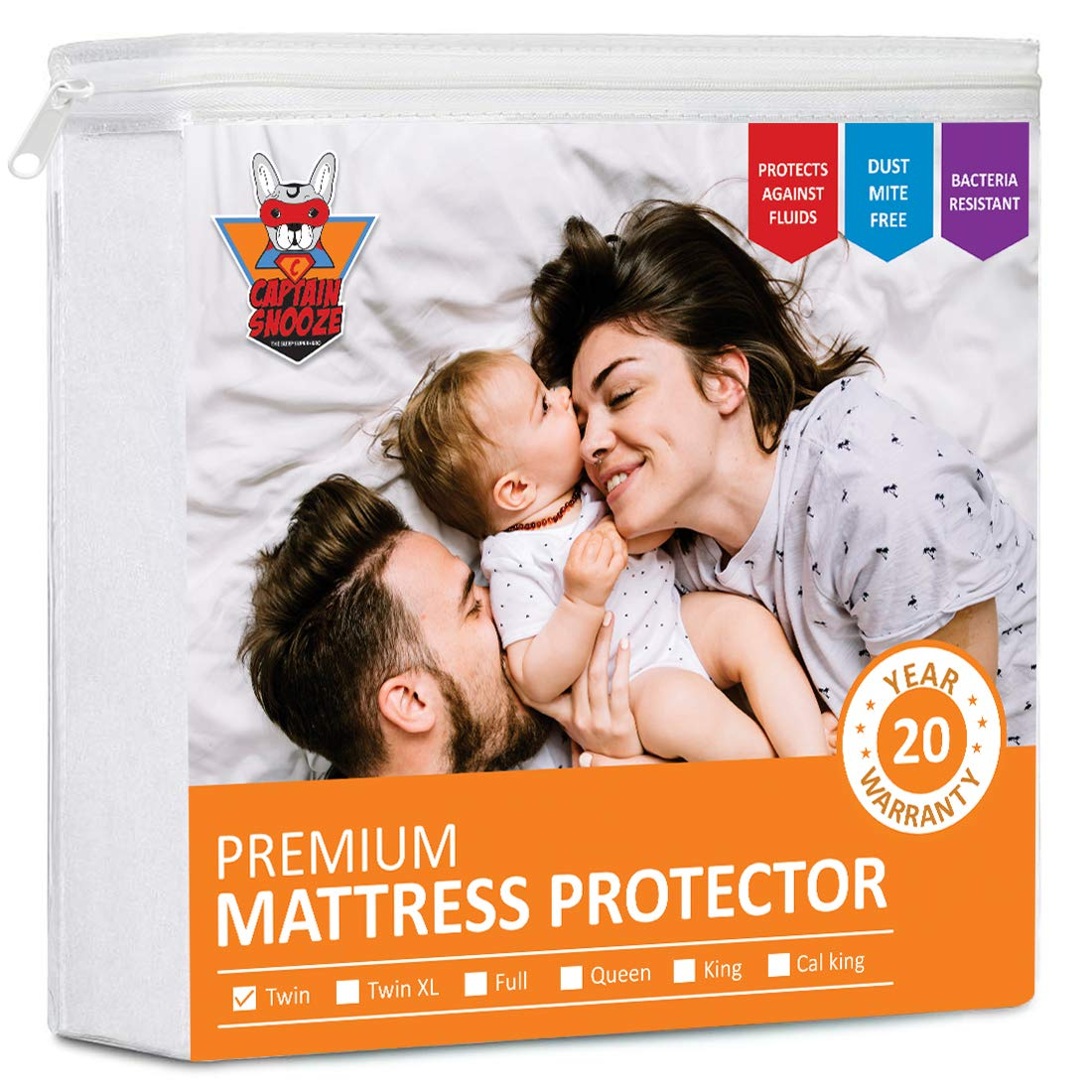 CAPTAIN SNOOZE Mattress Protector Twin Size Waterproof, Fitted Sheet Mattress Protector Upto 18 inches deep Pocket, Cotton Terry Surface, Vinyl Free, Premium Twin Mattress Protector