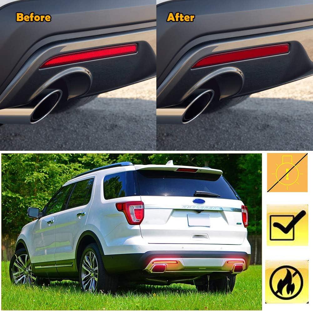 Miniclue Red Lens Full LED Bumper Reflector Rear Fog Lights For 2016 2017 Ford Explorer