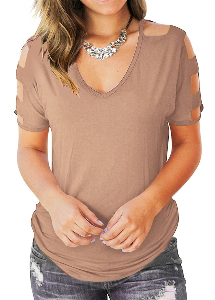 Eanklosco Womens Summer Short Sleeve Cold Shoulder Tops V Neck Basic T Shirts (Light Coffe, L)