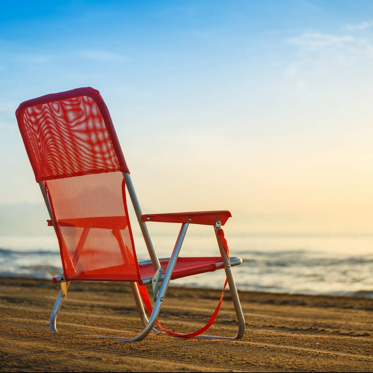 Sill/ón Plegable con Acolchado de Camping o Playa Azul de Acero Garden LOLAhome