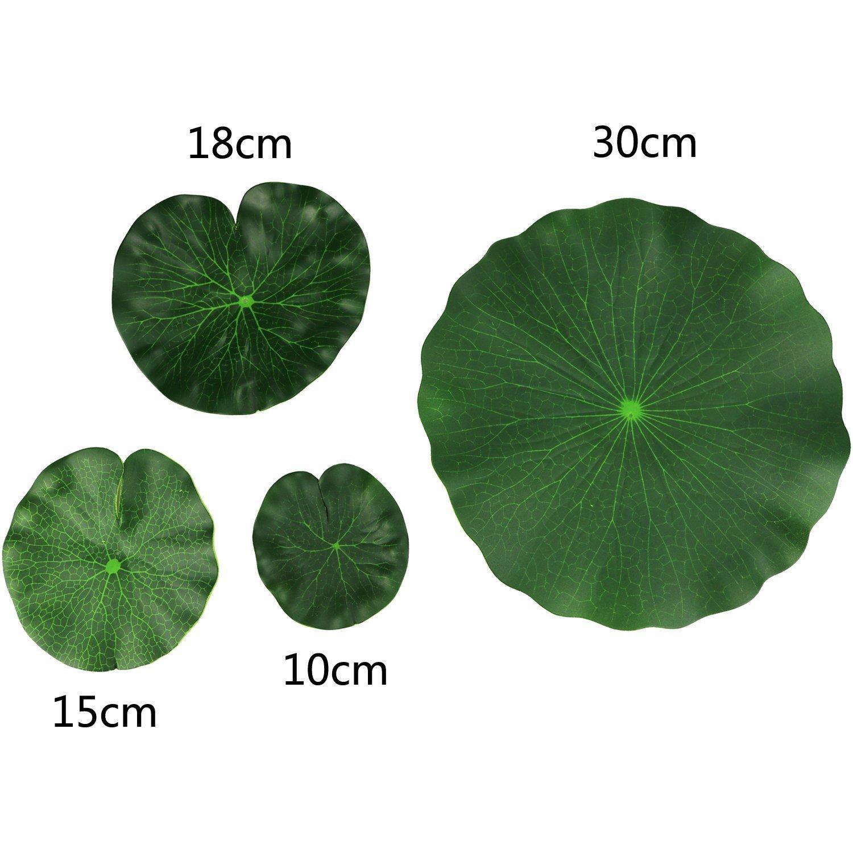 4PCS Set Artificial EVA Floating Foam Aquarium Foliage Floating Lotus Leaf Decor Pool Fish Tank Pond Leaves Home Garden Decoration (30cm+18cm+15cm+10cm)