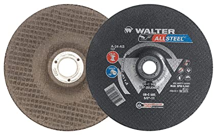 A-24-AS Grit Abrasive Wheels and Discs Pack of 10 5 in Walter ALLSTEEL 08C505 Versatile Grinding Wheel - Cutting Wheel with Rounded Hole