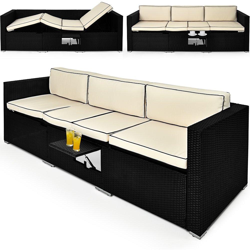 Polyrattan Loungeliege 6 Fach Verstellbar Mit Integriertem Ausklappbarem  Tisch Und 20cm Dicke Rückenpolster Gartenliege Sonnenliege Relaxliege  Rattanliege ...