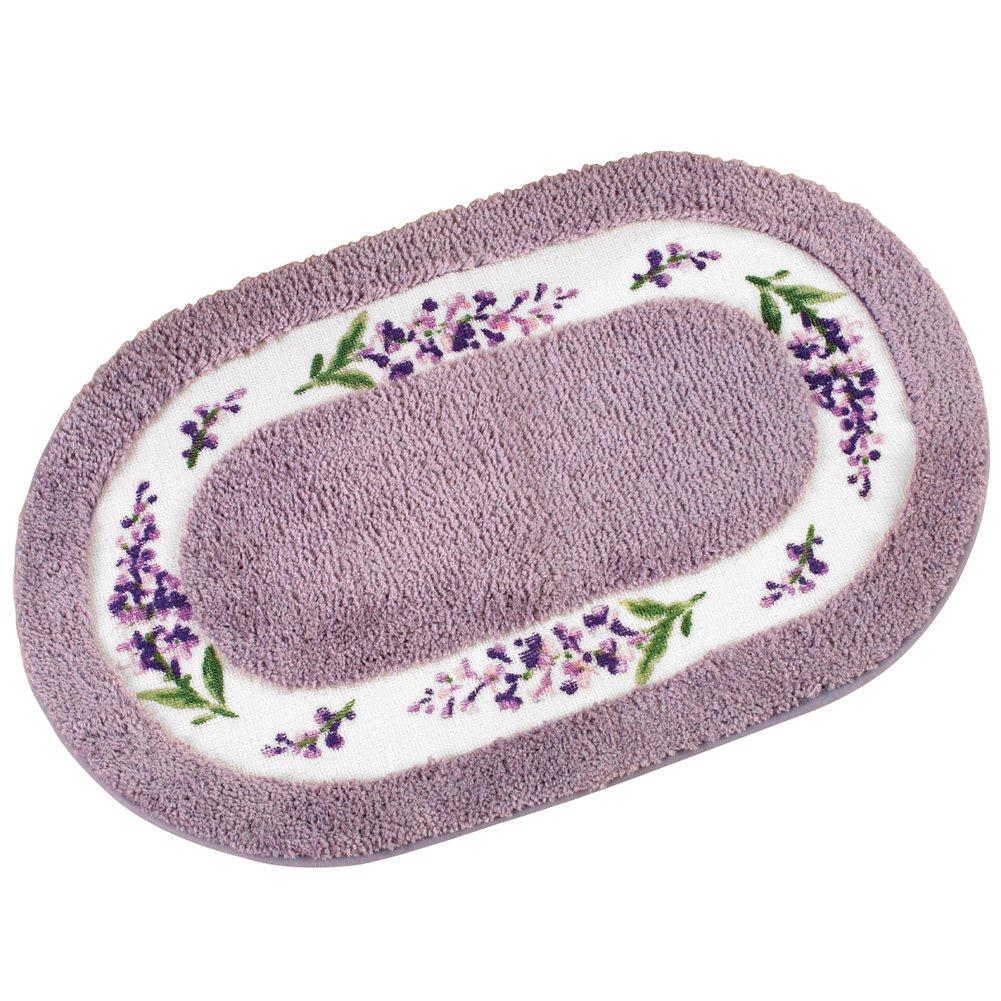 Collections Etc Lavender Floral 20''x32'' Skid-Resistant Bath Mat, Purple