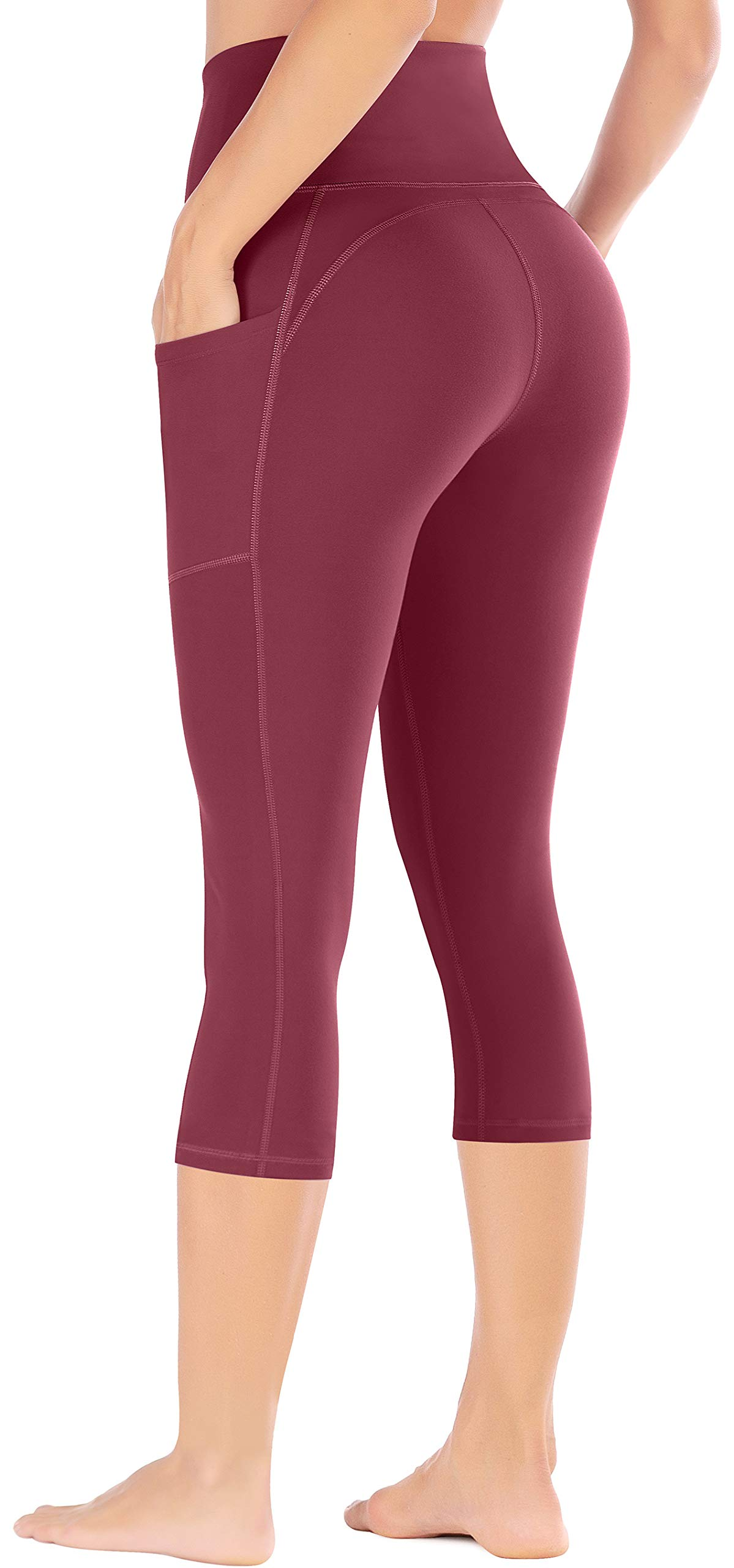 Ewedoos Yoga Pants with Pockets for Women Ultra Soft Leggings with Pockets High Waist Workout Pants (Ew327 Maroon, XX-Large) by Ewedoos