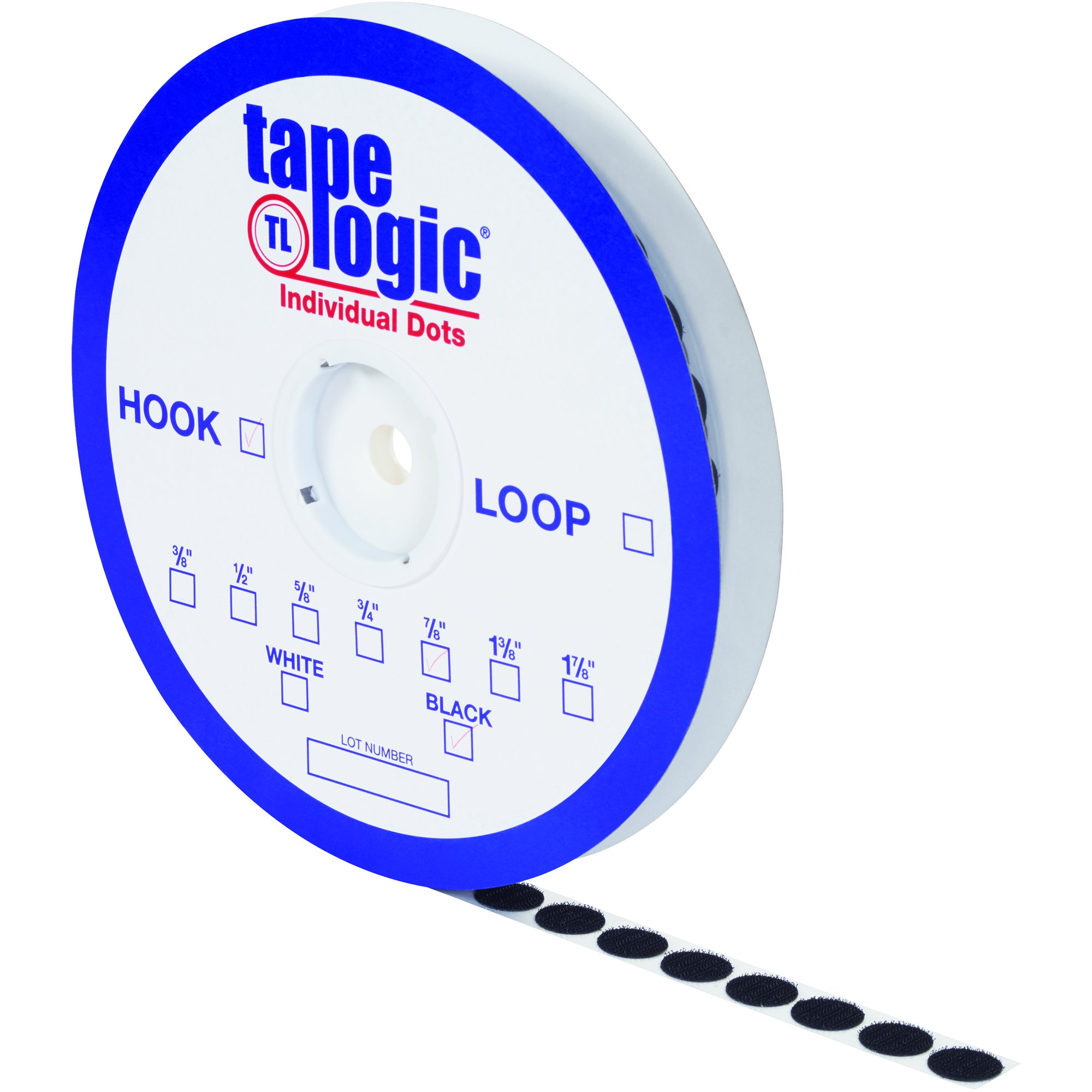 Tape Logic HLT165 Rubber Individual Dot Tape with Loop, 1-7/8'' Diameter, Black (Case of 450)