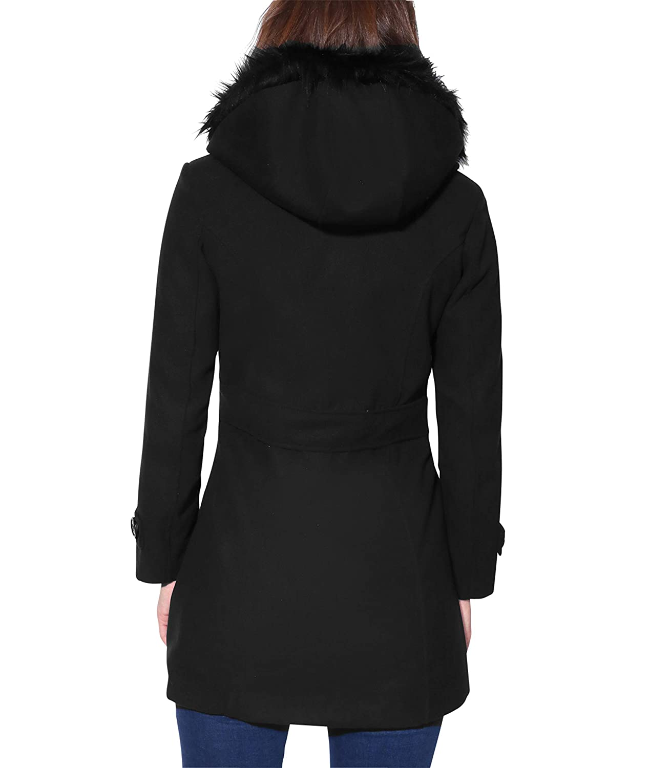 KRISP/® Women Parka Belted Fitted Military A Line Woollen Duffle Trench Toggle Coat